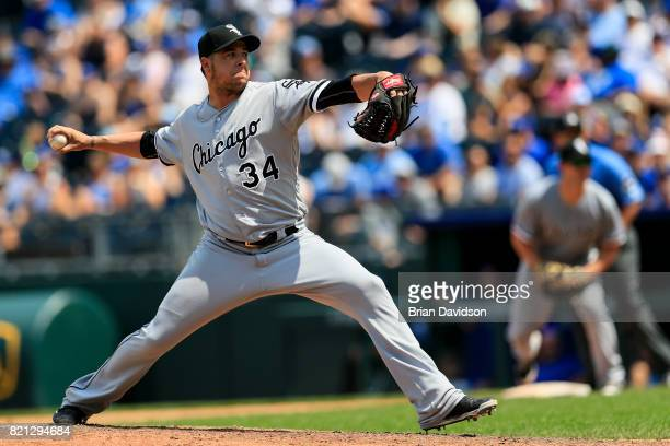 Anthony Swarzak of the Chicago White Sox pitches against the Kansas City Royals during the game at Kauffman Stadium on July 23 2017 in Kansas City...