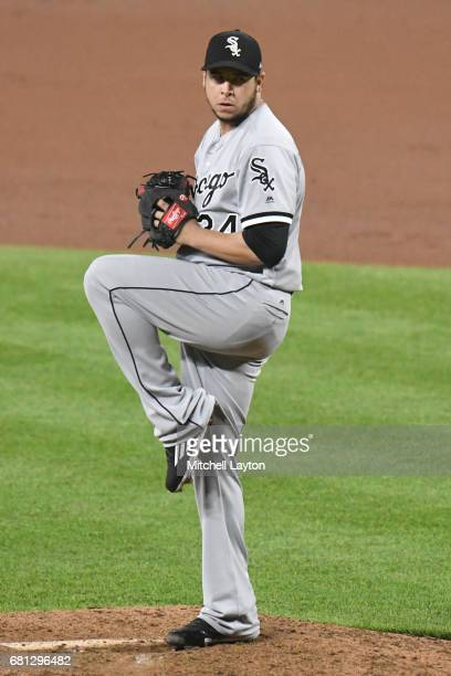 Anthony Swarzak of the Chicago White Sox pitches during a baseball game against the Baltimore Orioles at Oriole Park at Camden Yards on May 5 2017 in...