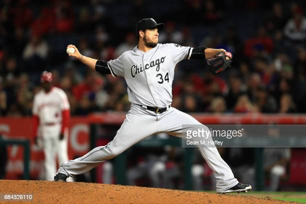 Anthony Swarzak of the Chicago White Sox pitches during the sixth inning of a game against the Los Angeles Angels of Anaheim at Angel Stadium of...