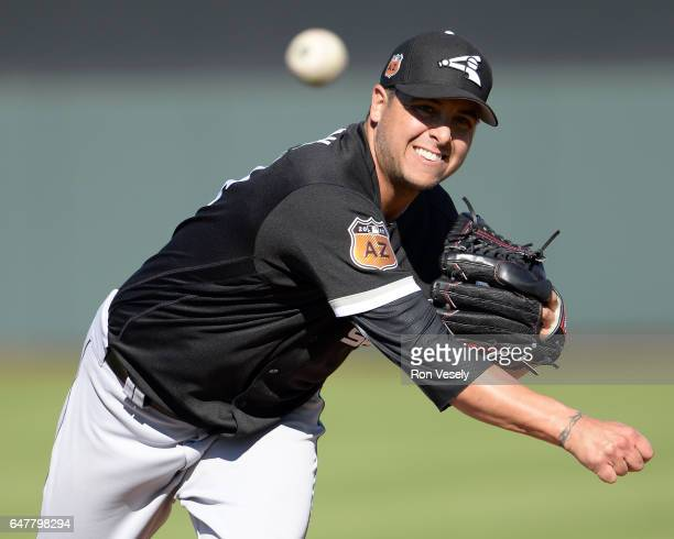 Anthony Swarzak of the Chicago White Sox pitches during the spring training game against the San Francisco Giants on March 3 2017 at Scottsdale...