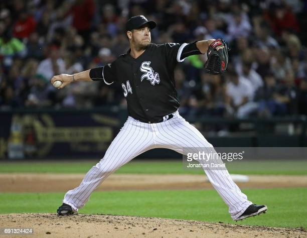 Anthony Swarzak of the Chicago White Sox pitches in the 6th inning against the Boston Red Sox at Guaranteed Rate Field on May 31 2017 in Chicago...