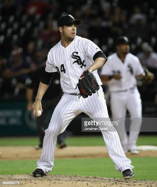Anthony Swarzak of the Chicago White Sox pitches in the 9th nning against the Baltimore Orioles at Guaranteed Rate Field on June 12 2017 in Chicago...