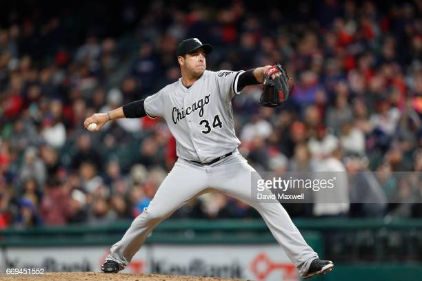 Anthony Swarzak of the Chicago White Sox pitches in the seventh inning against the Cleveland Indians at Progressive Field on April 12 2017 in...