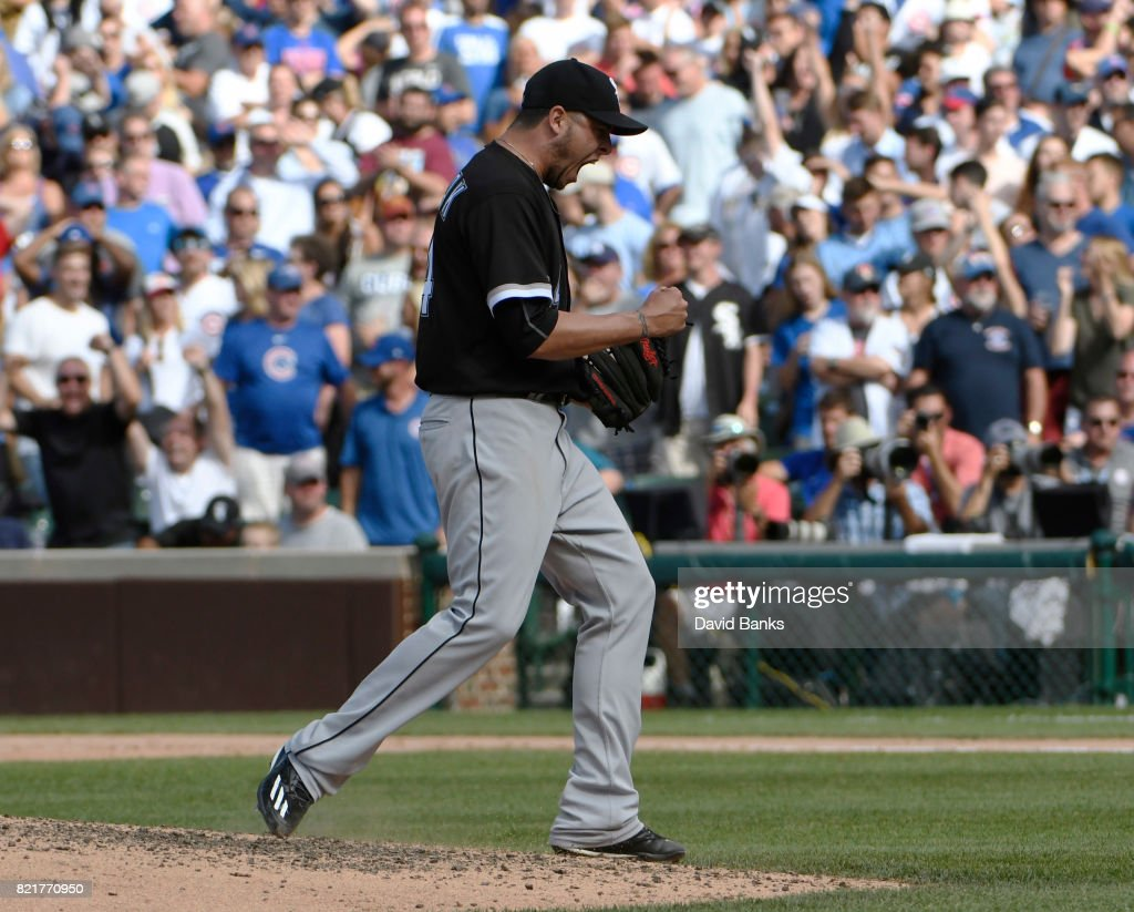 Anthony Swarzak #34 of the Chicago White Sox reacts after getting the final out against the Chicago Cubs on July 24, 2017 at Wrigley Field in Chicago, Illinois. The White Sox defeated the Cubs 3-1.