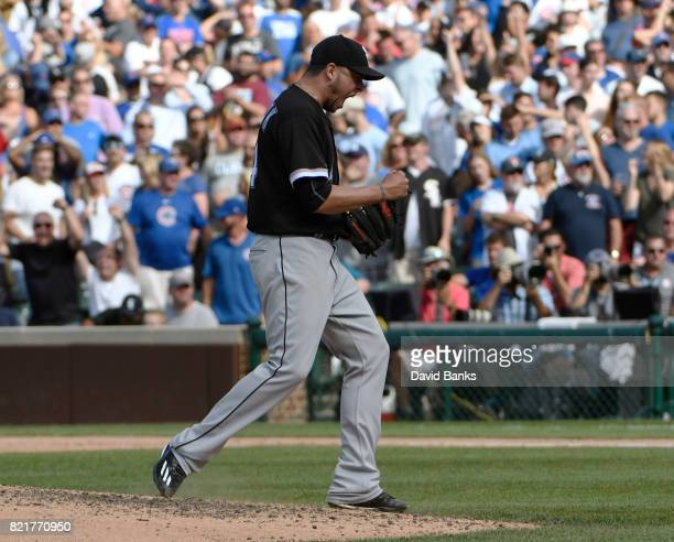 Anthony Swarzak of the Chicago White Sox reacts after getting the final out against the Chicago Cubs on July 24 2017 at Wrigley Field in Chicago...