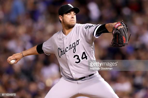 Anthony Swarzak of the Chicago White Sox throws in the seventh inning against the Colorado Rockies at Coors Field on July 8 2017 in Denver Colorado