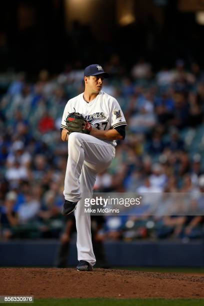 Anthony Swarzak of the Milwaukee Brewers pitches during the game against the Cincinnati Reds at Miller Park on September 28 2017 in Milwaukee...