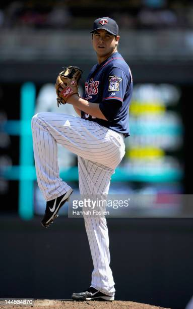 Anthony Swarzak of the Minnesota Twins delivers a pitch against the Cleveland Indians during the sixth inning on May 15 2012 at Target Field in...