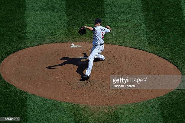 Anthony Swarzak of the Minnesota Twins delivers a pitch against the New York Mets during the game on August 19 2013 at Target Field in Minneapolis...