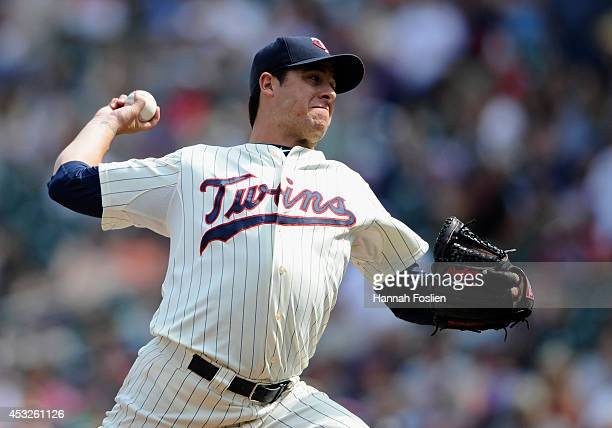 Anthony Swarzak of the Minnesota Twins delivers a pitch against the San Diego Padres during the tenth inning of the game on August 6 2014 at Target...