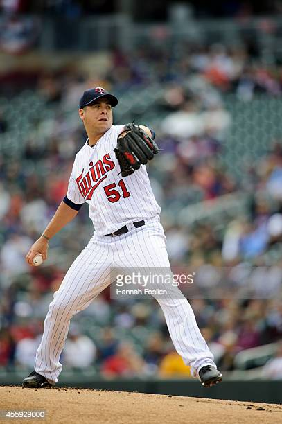 Anthony Swarzak of the Minnesota Twins delivers a pitch against the Cleveland Indians during the game on September 21 2014 at Target Field in...
