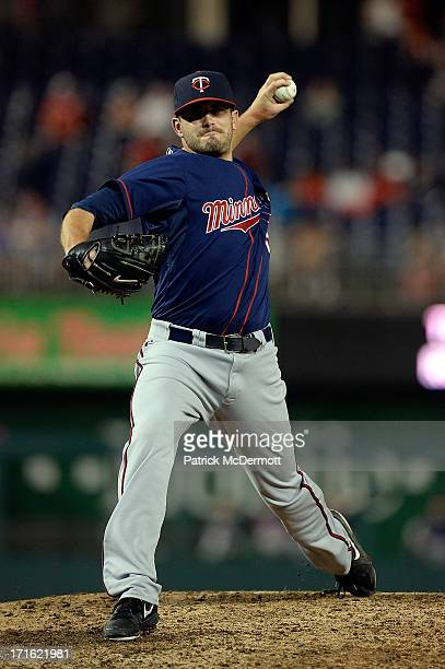 Anthony Swarzak of the Minnesota Twins in action against the Washington Nationals during game two of a doubleheader at Nationals Park on June 9 2013...