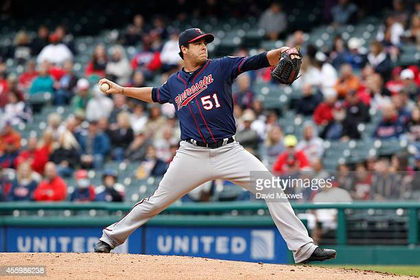 Anthony Swarzak of the Minnesota Twins pitches against the Cleveland Indians during the fourth inning of their game on September 11 2014 at...
