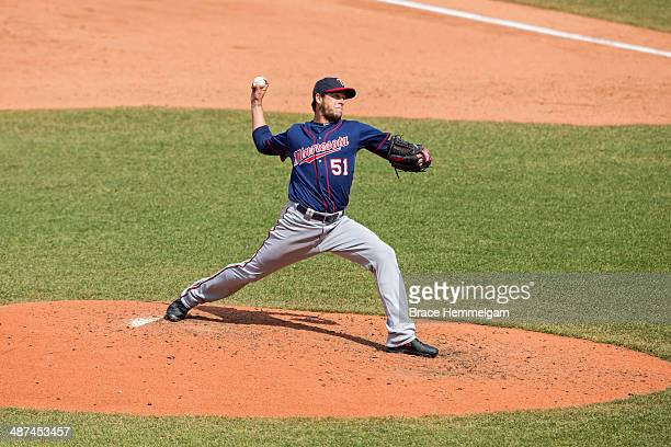 Anthony Swarzak of the Minnesota Twins pitches against the Cleveland Indians on April 6 2014 at Progressive Field in Cleveland Ohio The Twins...