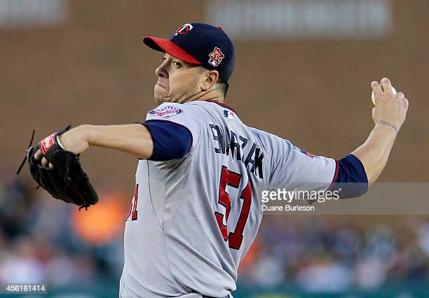 Anthony Swarzak of the Minnesota Twins pitches against the Detroit Tigers during the first inning at Comerica Park on September 26 in Detroit Michigan