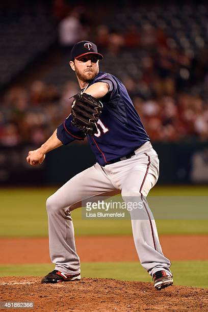 Anthony Swarzak of the Minnesota Twins pitches against the Los Angeles Angels of Anaheim at Angel Stadium of Anaheim on June 25 2014 in Anaheim...