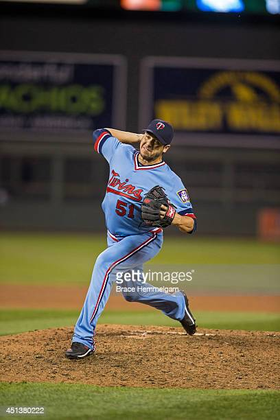 Anthony Swarzak of the Minnesota Twins pitches against the Milwaukee Brewers on June 5 2014 at Target Field in Minneapolis Minnesota The Brewers...