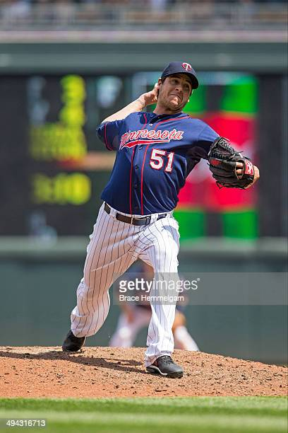 Anthony Swarzak of the Minnesota Twins pitches against the Seattle Mariners on May 18 2014 at Target Field in Minneapolis Minnesota The Mariners...