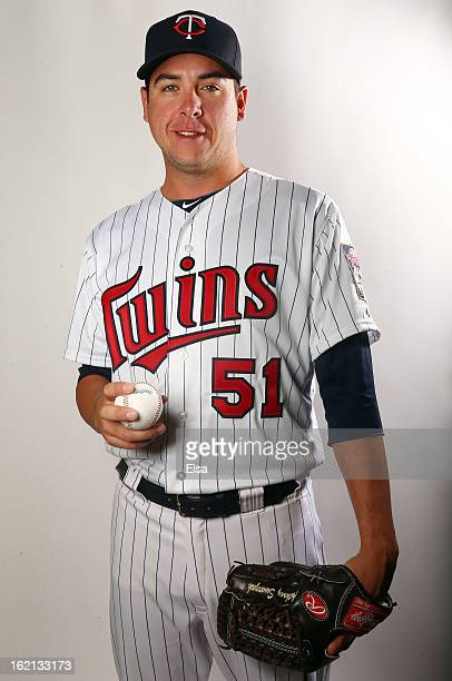 Anthony Swarzak of the Minnesota Twins poses for a portrait on February 19 2013 at Hammond Stadium in Fort Myers Florida