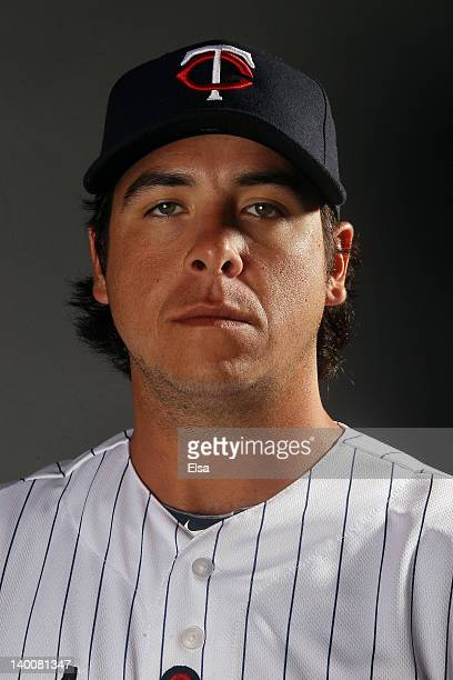 Anthony Swarzak of the Minnesota Twins poses for a portrait on February 27 2012 at Hammond Stadium in Fort Myers Florida