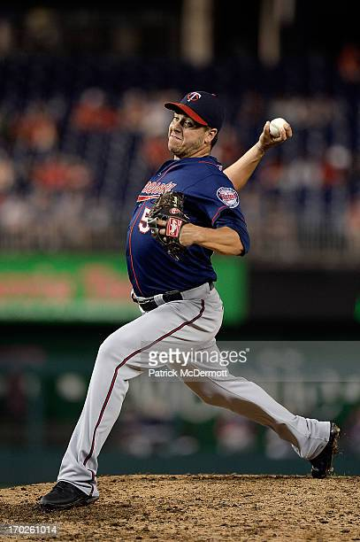 Anthony Swarzak of the Minnesota Twins throws a pitch against the Washington Nationals during game two of a doubleheader at Nationals Park on June 9...