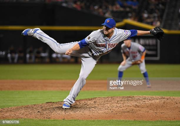 Anthony Swarzak of the New York Mets delivers a ninth inning pitch against the Arizona Diamondbacks at Chase Field on June 16 2018 in Phoenix Arizona...