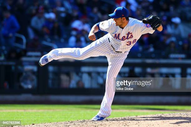 Anthony Swarzak of the New York Mets in action against the St Louis Cardinals at Citi Field on March 31 2018 in the Flushing neighborhood of the...