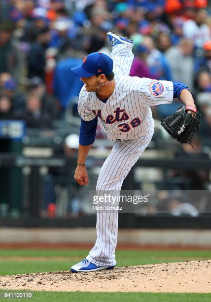 Anthony Swarzak of the New York Mets in action during a game against the St Louis Cardinals at Citi Field on March 29 2018 in the Flushing...