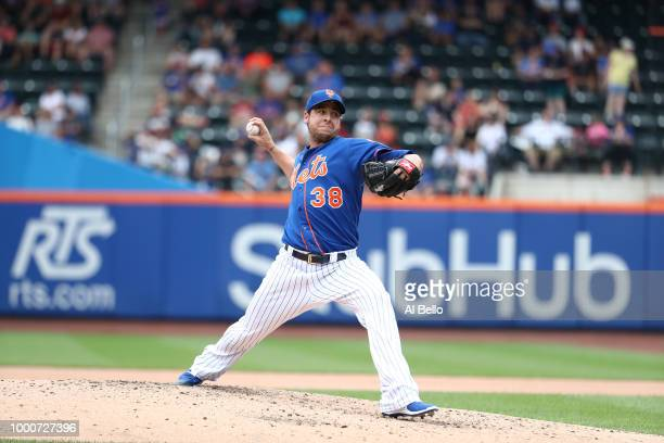 Anthony Swarzak of the New York Mets pitches against the Washington Nationals during their game at Citi Field on July 15 2018 in New York City