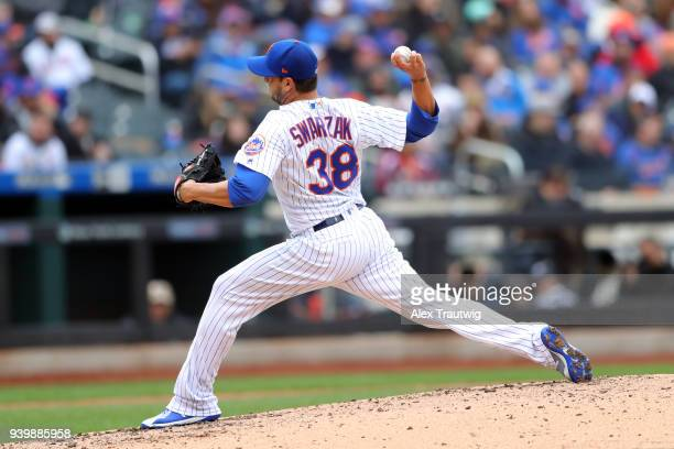 Anthony Swarzak of the New York Mets pitches during the game against the St Louis Cardinals at Citi Field on Thursday March 29 2018 in the Queens...