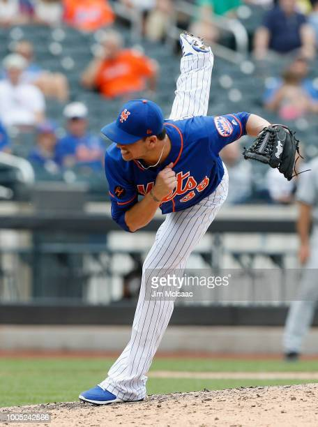 Anthony Swarzak of the New York Mets pitches in the ninth inning against the San Diego Padres at Citi Field on July 25 2018 in the Flushing...