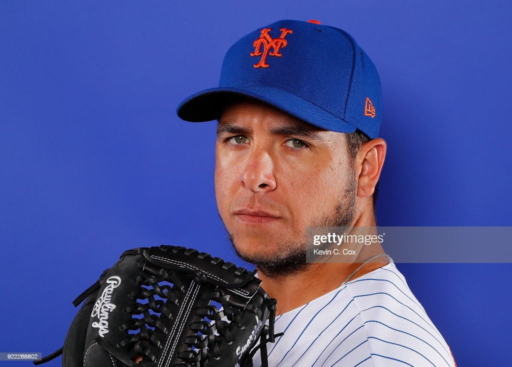 Anthony Swarzak #38 of the New York Mets poses for a photo during photo days at First Data Field on February 21, 2018 in Port St. Lucie, Florida.