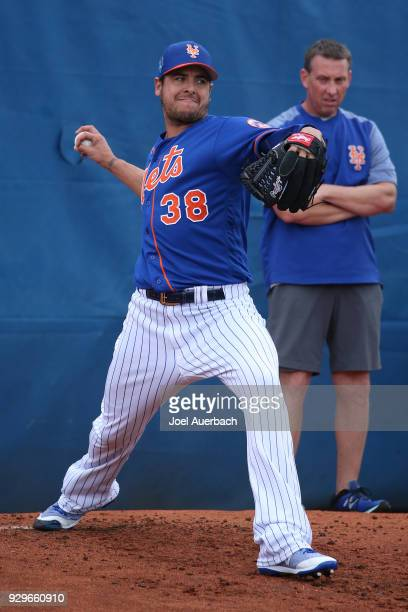 Anthony Swarzak of the New York Mets works out prior to the spring training game against the New York Yankees at First Date Field on March 7 2018 in...
