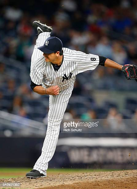 Anthony Swarzak of the New York Yankees in action against the Detroit Tigers during a game at Yankee Stadium on June 10 2016 in the Bronx borough of...