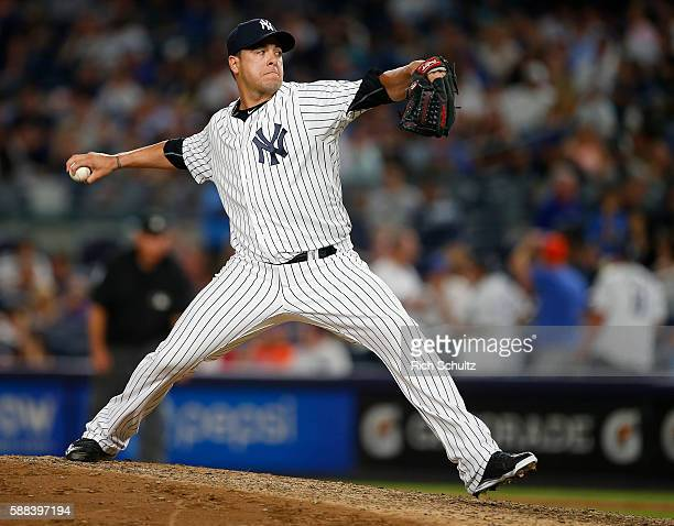 Anthony Swarzak of the New York Yankees in action against the New York Mets during a game at Yankee Stadium on August 4 2016 in the Bronx borough of...