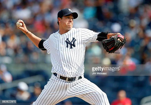 Anthony Swarzak of the New York Yankees in action against the Toronto Blue Jays at Yankee Stadium on August 17 2016 in the Bronx borough of New York...