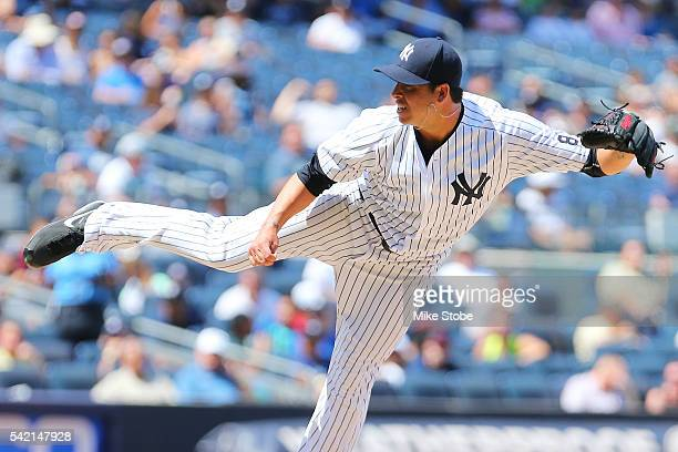 Anthony Swarzak of the New York Yankees pitches against the Colorado Rockies in the fifth inning at Yankee Stadium on June 22 2016 in the Bronx...