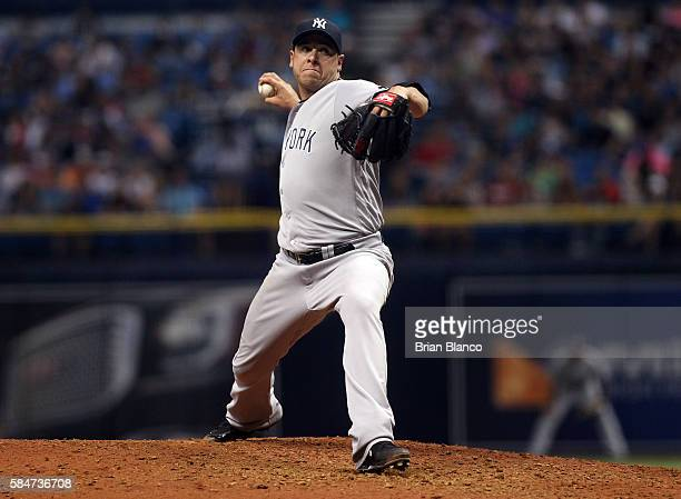 Anthony Swarzak of the New York Yankees pitches during the seventh inning of a game against the Tampa Bay Rays on July 30 2016 at Tropicana Field in...