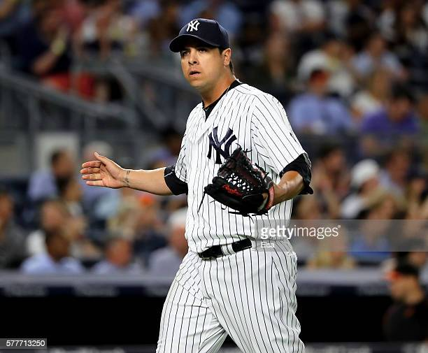 Anthony Swarzak of the New York Yankees reacts after the last out with bases loaded in the sixth inning against the Baltimore Orioles on July 19 2016...