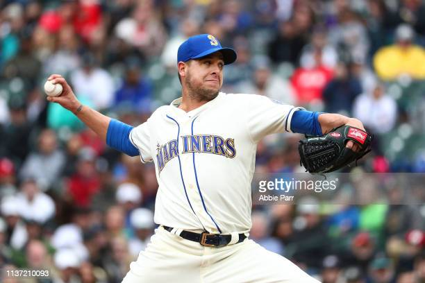 Anthony Swarzak of the Seattle Mariners pitches against the Houston Astros in the ninth inning at TMobile Park on April 14 2019 in Seattle Washington
