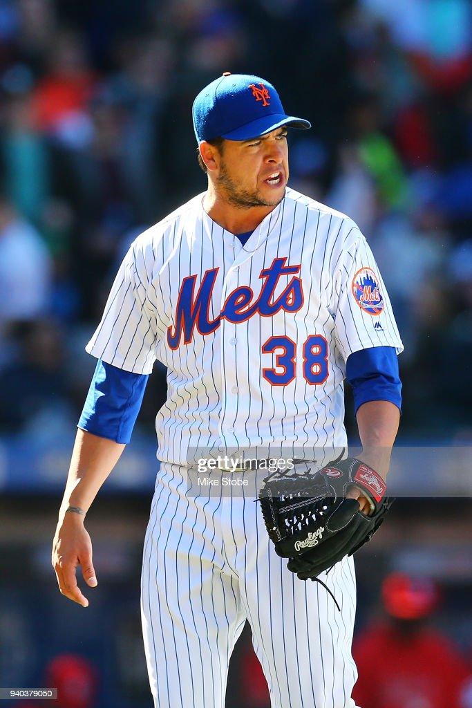 Anthony Swarzak #38 reacts after the thitd out of the seventh inning against the St. Louis Cardinals at Citi Field on March 31, 2018 in the Flushing neighborhood of the Queens borough of New York City.