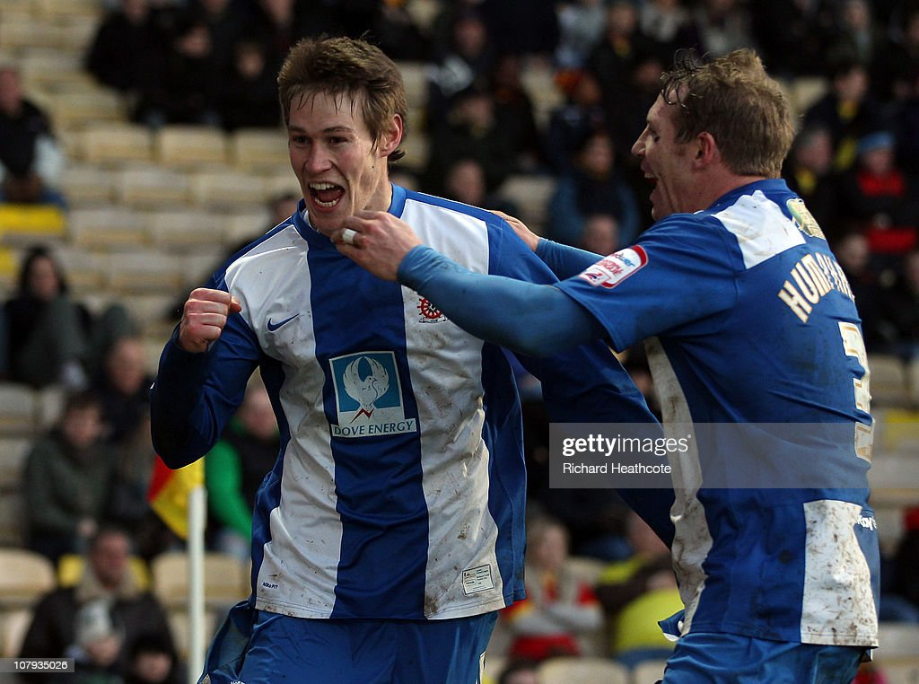 Anthony Sweeney of Hartlepool celebrates scoring the opening goal during the 3rd round FA Cup Sponsored by E.ON match between Watford and Hartlepool United at Vicarage Road on January 8, 2011 in Watford, England.