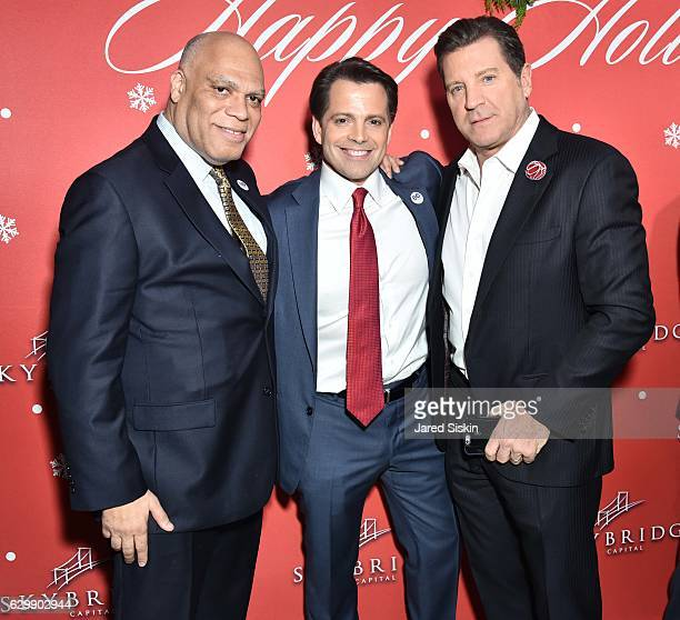 Anthony Taitt Anthony Scaramucci and Eric Bolling attend SkyBridge Capital Holiday Celebration at Hunt Fish Club on December 14 2016 in New York City