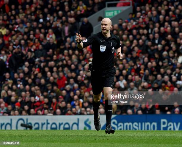 Anthony Taylor referee during the Premier League match between Liverpool and Everton at Anfield on April 1 2017 in Liverpool England