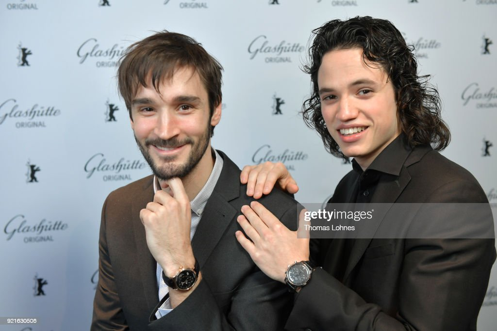 Anthony Therrien and Pascal Plante attend the Glashuette Original Lounge at The 68th Berlinale International Film Festival at Grand Hyatt Hotel on February 20, 2018 in Berlin, Germany.