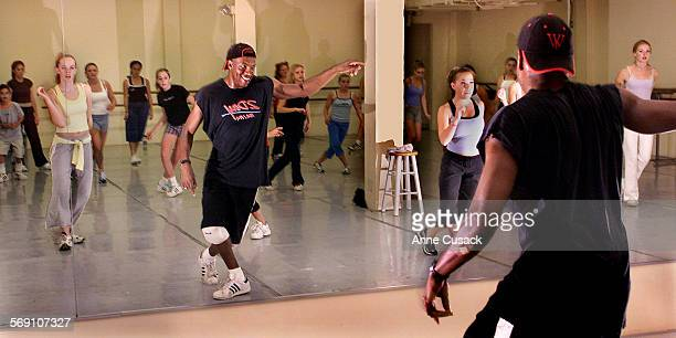 Anthony Thomas teaching a hip hop class at theBallet Ventura School in Ventura He will soon teach a class a Casa Pacifica