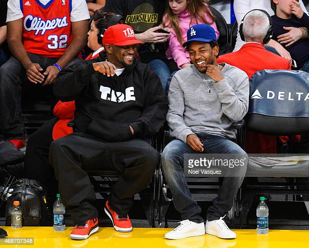 Anthony Tiffith and Kendrick Lamar attend a basketball game between the Los Angeles Clippers and the Los Angeles Lakers at Staples Center on April 5...