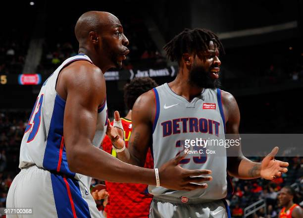 Anthony Tolliver and Reggie Bullock of the Detroit Pistons react to a call during the game against the Atlanta Hawks at Philips Arena on February 11...