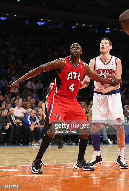 Anthony Tolliver of the Atlanta Hawks looks for a rebound against the New York Knicks at Madison Square Garden on April 17 2013 in New York City The...