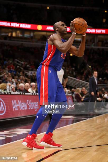 Anthony Tolliver of the Detroit Pistons attempts a shot in the first quarter against the Chicago Bulls at the United Center on April 11 2018 in...